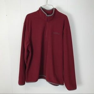 Eddie Bauer mens red zip pullover XL